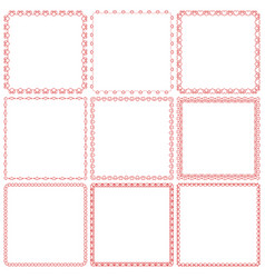 set square romantic frames with hearts vector image