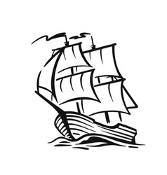 ship with sail on waves vector image