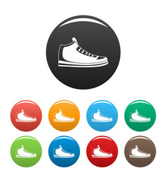 sneakers icons set collection circle vector image