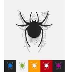 spider paper sticker with hand drawn elements vector image