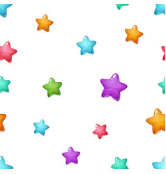 star cartoon pattern blue pink green yellow vector image