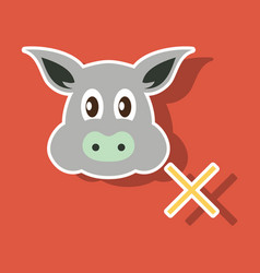 Sticker of pig in graphic style hand drawing vector