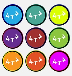 swing icon sign Nine multi colored round buttons vector image
