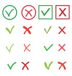 Tick and cross signs set green checkmark ok vector