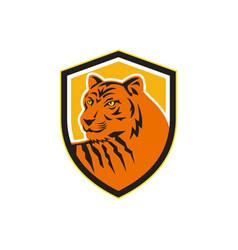 Tiger head front crest retro vector