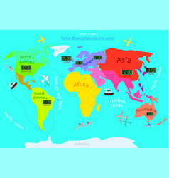Time zones on a world map time difference between vector