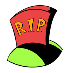 tombstone rip icon cartoon vector image