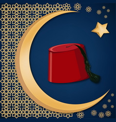 Turkish traditional red hat fez or tarboosh with vector