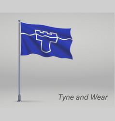 Waving flag tyne and wear - county england vector
