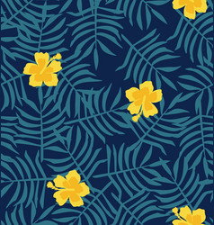 Yellow hibiscus flower background vector