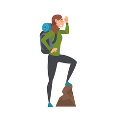 Young woman with backpack standing on top the vector