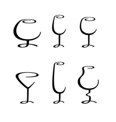 calligraphic glasses vector image