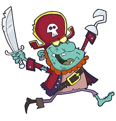 Cartoon Pirate Zombie With A Cutlass vector image vector image
