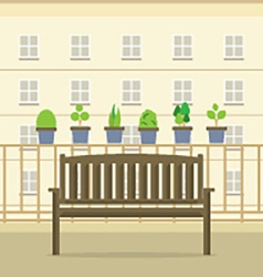Empty Wooden Park Chair At Balcony vector image vector image