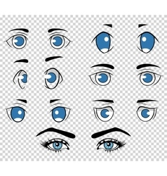 Set of different human and anime eyes cartoon vector image