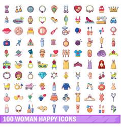 100 woman happy icons set cartoon style vector image vector image