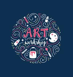 art workshop or tutorial lettering and doodles vector image vector image
