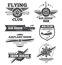 aviation badges avia club emblems vector image vector image