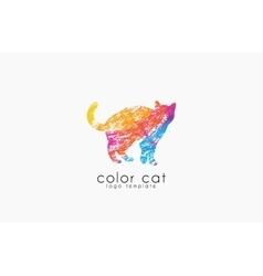 Cat logo Color cat logo Creative logo design vector image