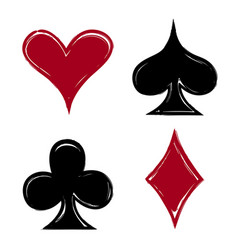 playing card suits icon symbol set hand drawing vector image