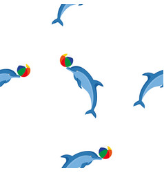 seamless pattern dolphins vector image vector image