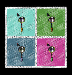 Set of flat shading style icons kids badminton vector