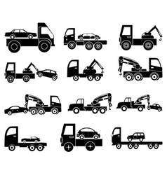 Towing vehicles icons set vector image vector image
