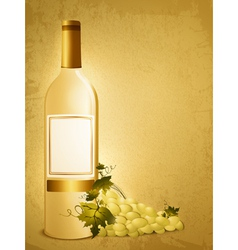 bottle of white wine vector image vector image