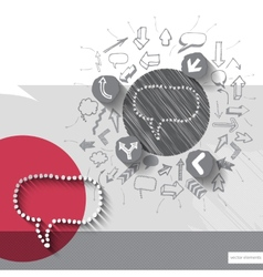 Hand drawn speech bubble icons with icons vector image vector image
