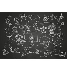 Set of chalk objects drawings vector image