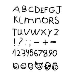 children english alphabet smilies emoji hand draw vector image