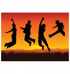jumping on sunset vector image