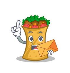 kebab wrap character cartoon with envelope vector image