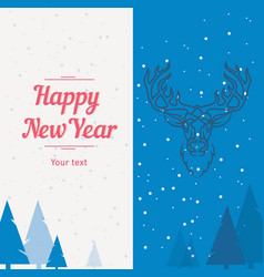postcard template deer forest happy new year and vector image vector image