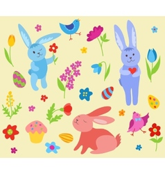 Set of cute Easter rabbits vector image vector image