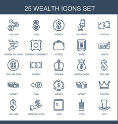 25 wealth icons vector image