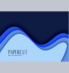 3d papercut background in blue shades vector