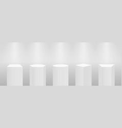 3d pedestal or podium mockup in pillar shapes set vector image
