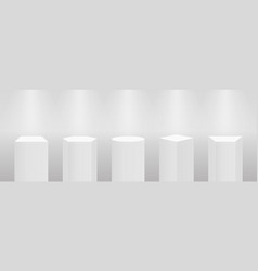 3d pedestal or podium mockup in pillar shapes set vector