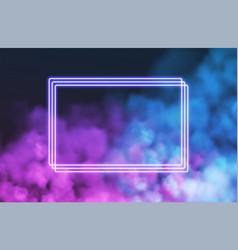 Abstract rectangle neon frame on pink smoke vector