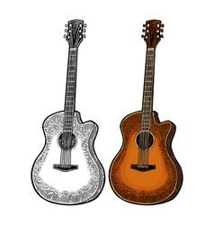 acoustic guitar vintage color engraving vector image