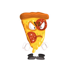 angry slice of pizza funny cartoon fast food vector image