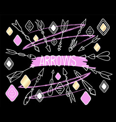 arrows clipart on black background hand vector image
