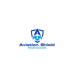 aviation shield logo design vector image