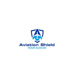 aviation shield logo design vector image