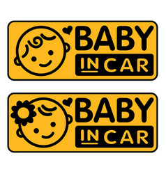 Baby boy and girl in car sticker vector