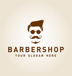 barbershop mustache logo design inspiration vector image
