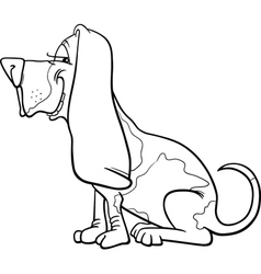 basset hound dog cartoon for coloring vector image