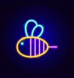 Bee neon sign vector