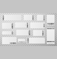 blank tickets with barcode realistic vector image
